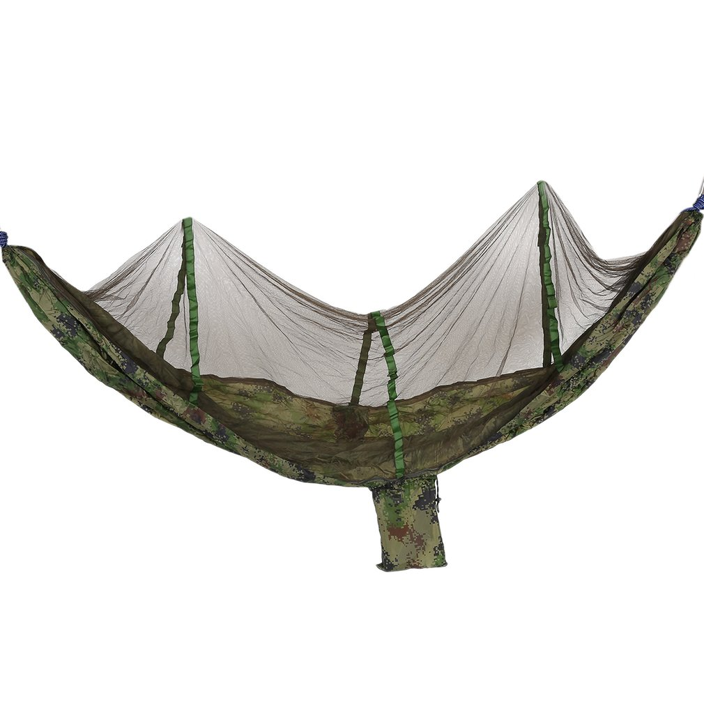 Double Person Travel Outdoor Camping Hammock Parachute Cloth Hanging Hammock Folded Bed With Mosquito Net by konxa