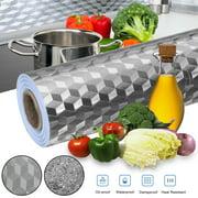 TSV Kitchen Wallpaper Stickers, Self-Adhesive Kitchen Aluminum Foil Stickers, Oil Proof Waterproof Kitchen Stove Sticker, Shelf Liner Drawer Liner, Anti-dust Peel Texture tiles Cabinet Wall Sticker