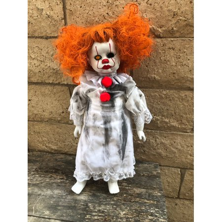 OOAK Large Cracked Face Child Pennywise IT Clown Girl Creepy Horror Doll Art by Christie - Halloween Creepy Doll Makeup