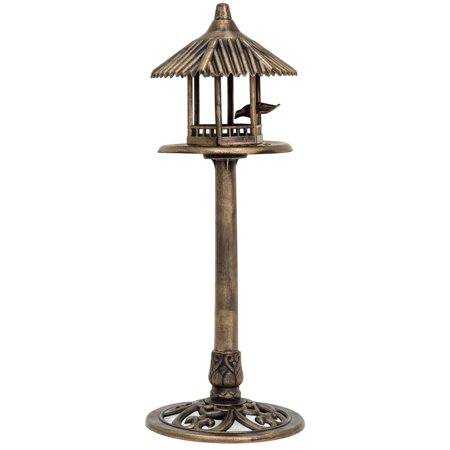 Fly Through Gazebo Feeder - Best Choice Products Standing Pedestal Bird Feeder, Outdoor Decor for Garden, Patio, Backyard w/ Gazebo Top, Bird, Antique Bronze