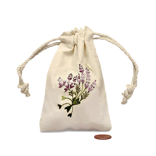 "Lavender Mini Embroidered Muslin Pouch 3"" X 5"" 