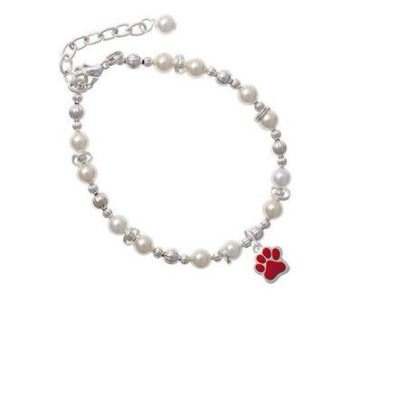 Silvertone Small Red Paw Imitation Pearl Beaded Bracelet Small Pearl Bracelet