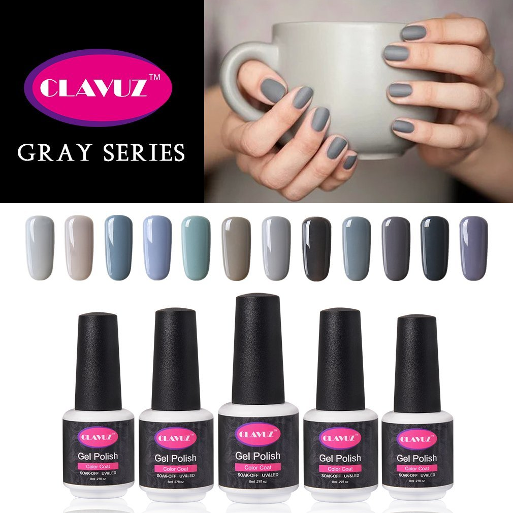 CLAVUZ Gel Nail Polish 12pcs Gray Nail Polish Kit Soak Off UV Gel Nail Lacquer Nail Art Manicure New Starter Gift Set