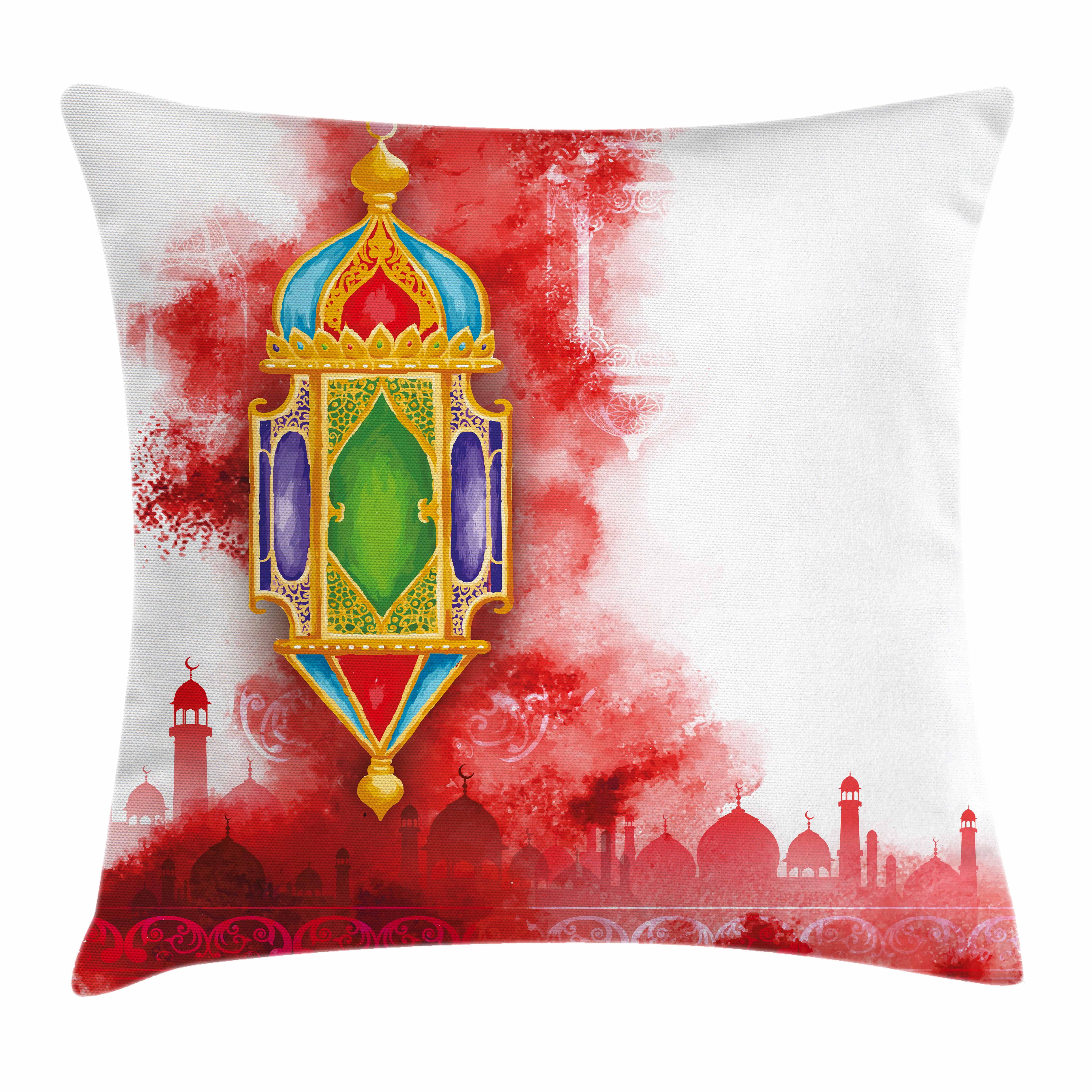 Lantern Throw Pillow Cushion Cover, Greeting of Ramadan Kareem Mosques Crescents... by Kozmos