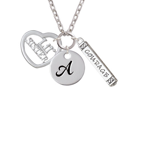 3/4'' Lil Sister Cutout Open Heart - A - Script Initial Disc Courage Strength Wisdom Zoe Necklace