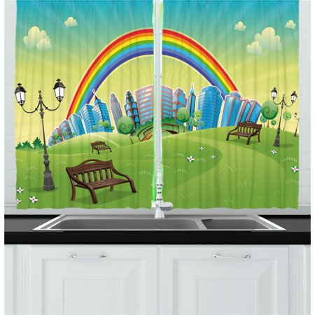 Nursery Bench (Cartoon Curtains 2 Panels Set, Kids Nursery Design Park Bench Hills Apartments Rainbow Beams Flowers Art Print, Window Drapes for Living Room Bedroom, 55W X 39L Inches, Multicolor, by)