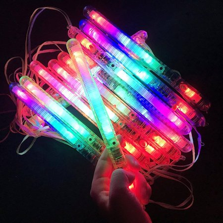 LWS LA Wholesale Store  100 PCS Light-Up Sticks LED Flashing Strobe Wands Blinking Rave EDC Glow Run &  ** 10 Free miniature figures](Glow Stick Wands)