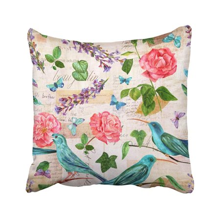 BPBOP Watercolor Drawings Of Pink Roses Teal Blue Birds Colibri And Sparrow Lavender Pillowcase Throw Pillow Cover 18x18 inches ()