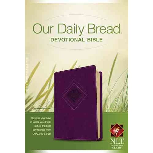 Our Daily Bread Devotional Bible: New Living Translation, Eggplant, LeatherLike