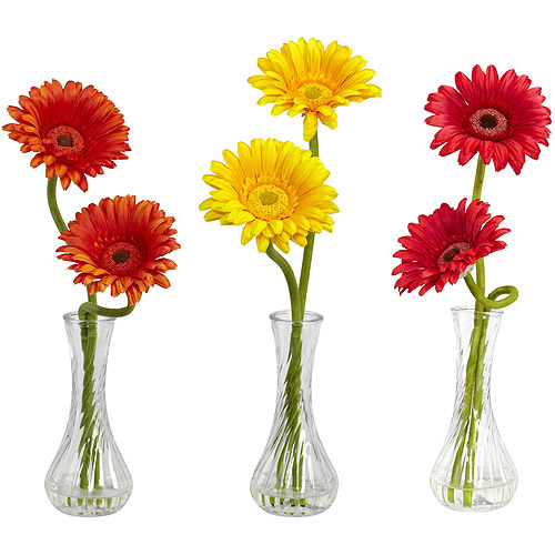 Nearly Natural Gerber Daisy with Bud Vase, Assorted 1, 3pc