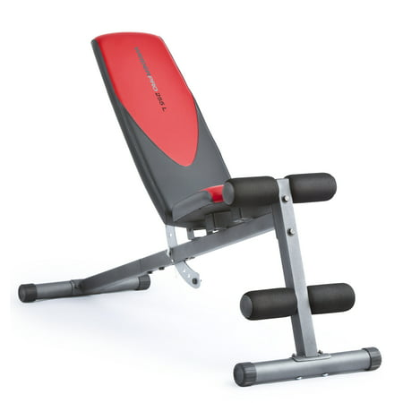 Weider Pro 225 L Adjustable Exercise Bench with Integrated Leg Lockdown, 300 lb. Weight Limit