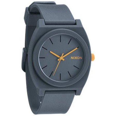 Nixon Men's Time Teller A1191244 Grey Polyurethane Analog Quartz Fashion Watch Ideal for the devoted athlete this Nixon watch comes with comprehensive features that provide the wearer with the necessary tools to meet their personal training goals. The polyurethane band and solid buckle clasp ensure that the watch stays securely fastened to your wrist during any activity. With the measures seconds water resistant features on an easy-to-read 39mm polycarbonate display this watch is the perfect gadget for those on the go.