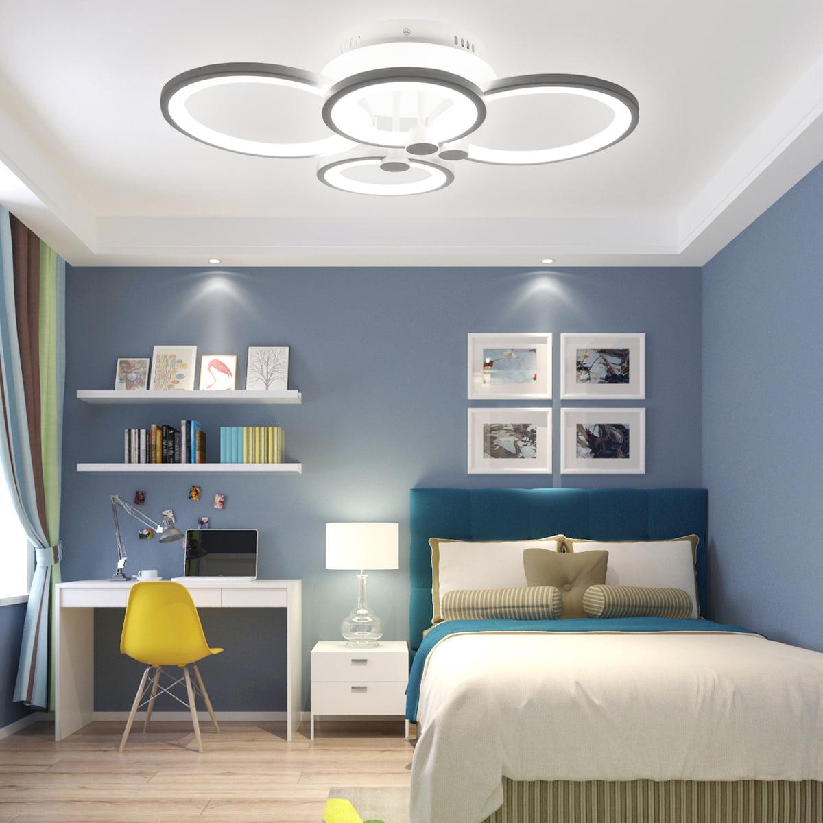Modern Crystal Led Ceiling Light Chandelier Lighting, 8 Rings Hanging Lamp  Warm White/Cold White/Stepless Dimming for Bedroom Living Room Light