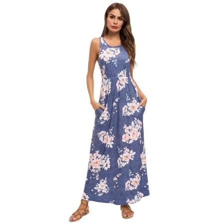 Lilly Posh Summer Sleeveless Heather Floral Maxi - Dress Heather