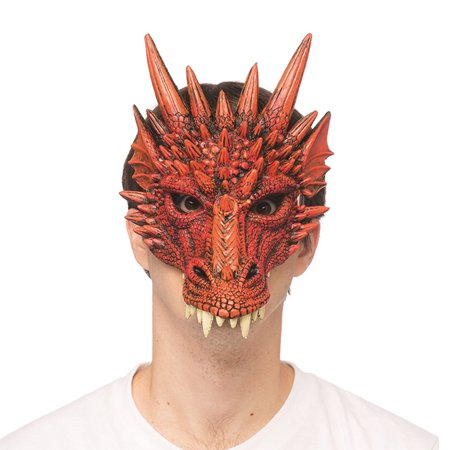 Supersoft Fantasy Red Dragon Adult Costume - Fantasy Mask