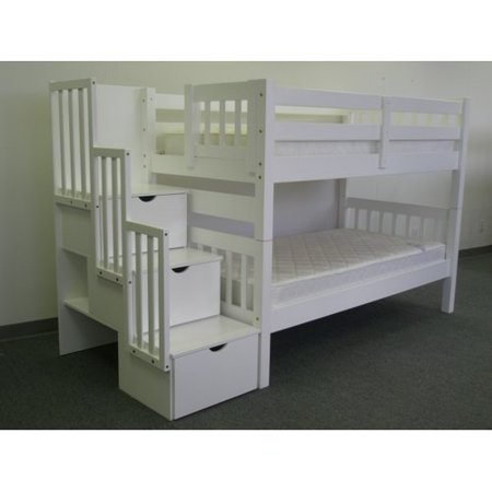 Bedz King Stairway Bunk Beds Twin over Twin with 3 Drawers in the Steps, White
