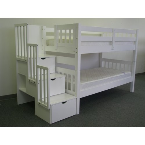 64931e9348061f Bedz King Stairway Bunk Beds Twin over Twin with 3 Drawers in the Steps,  White - Walmart.com