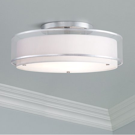 Educo Double Bubble (Possini Euro Design Modern Ceiling Light Flush Mount Fixture Sheer Organza Off White Double Drum 20