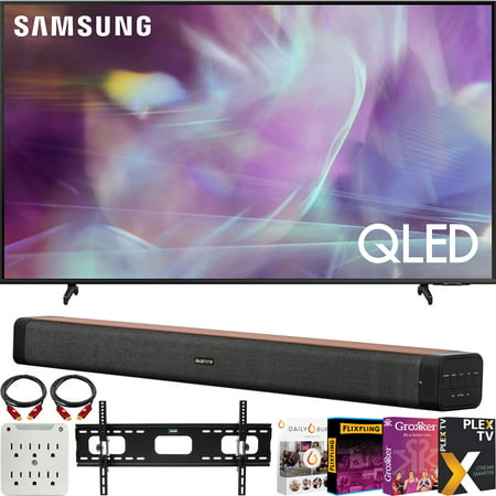 """Samsung QN60Q60AA 60 Inch QLED 4K UHD Smart TV (2021) Bundle with Deco Home 60W 2.0 Channel Soundbar + 37""""-100"""" TV Wall Mount Bracket + 6-Outlet Surge Adapter"""