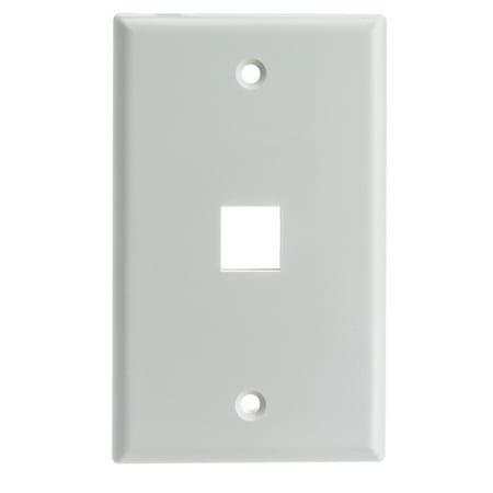 - ACCL Keystone 1 Port Single Gang Wall Plate, White, 1pk