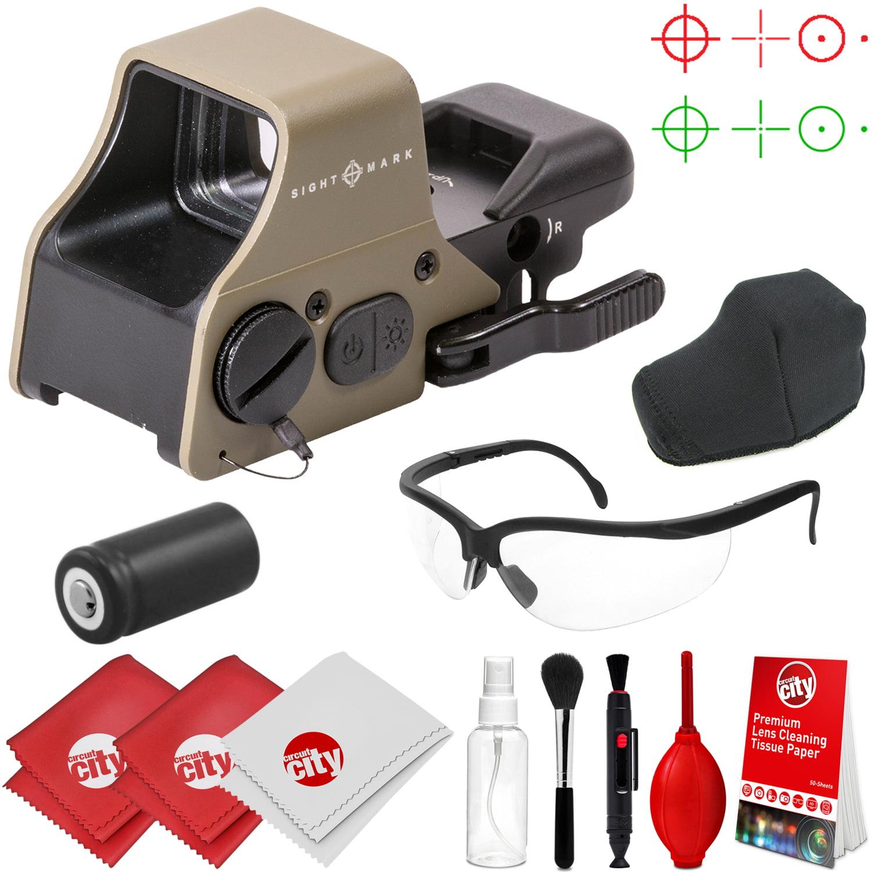Sightmark Ultra Shot Plus Reflex Dark Earth Red/Green Dot Sight w/ Clear Ballistic Glasses and Cleaning Kit (SM26008DE)