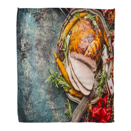 NUDECOR Flannel Throw Blanket Red Turkey Christmas Ham Served Roasted Vegetables and Festive on Vintage Top View Place Recipes Dishes Roast 58x80 Inch Lightweight Cozy Plush Fluffy Warm Fuzzy Soft - image 1 of 4