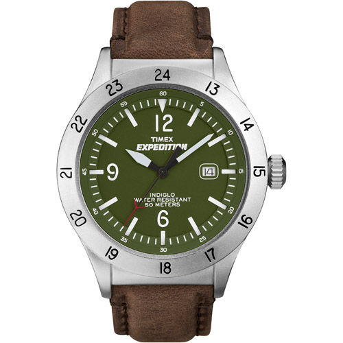 Timex Men's Expedition Military Field Watch, Brown Leather Strap