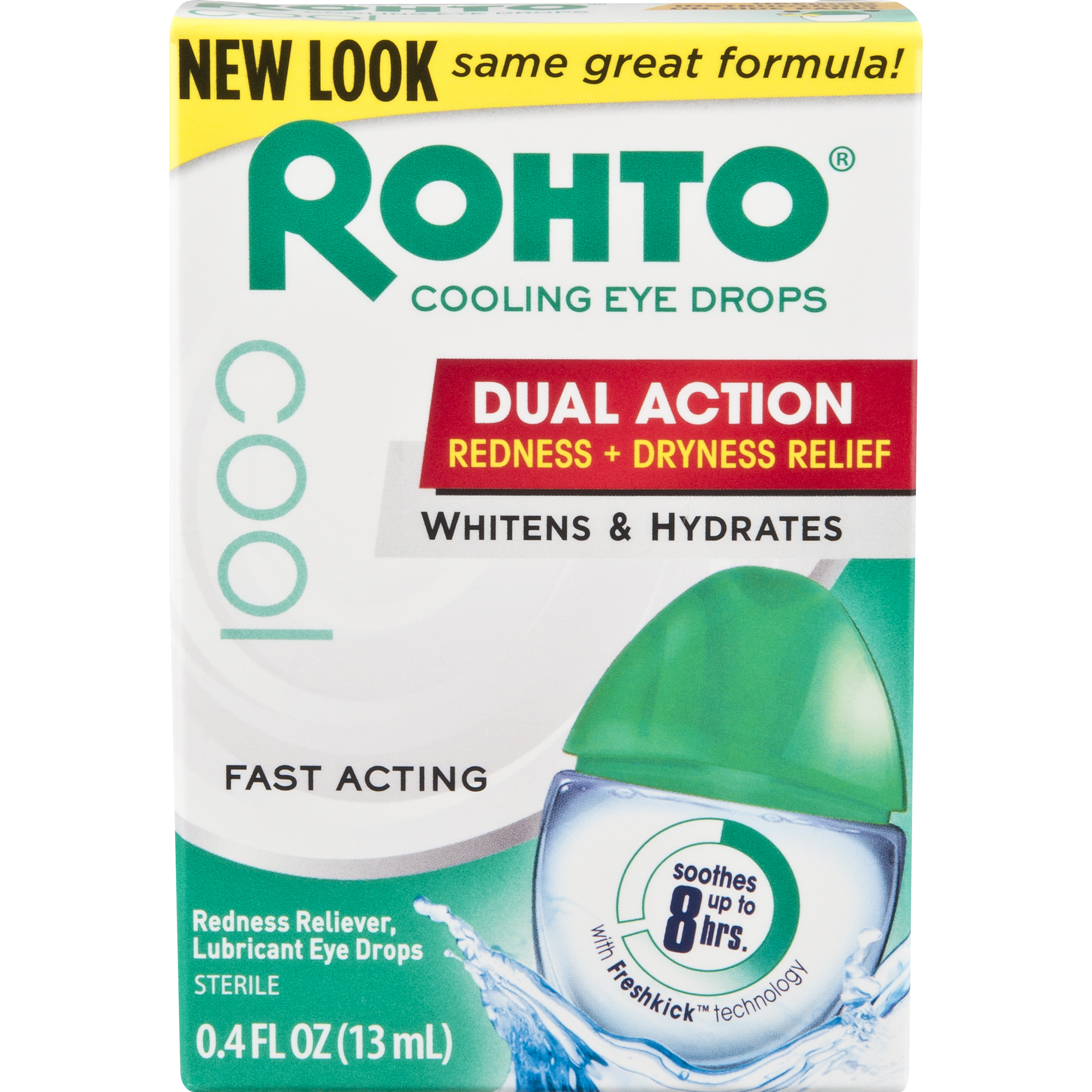 Rohto Cooling Eye Drops, Dual Action Redness + Dryness Relief, 0.4 fl. oz.