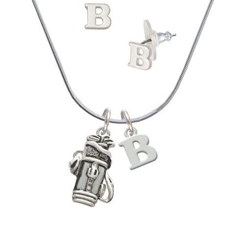 Golf Club Bag B Initial Charm Necklace and Stud Earrings Jewelry Set by Delight and Co.
