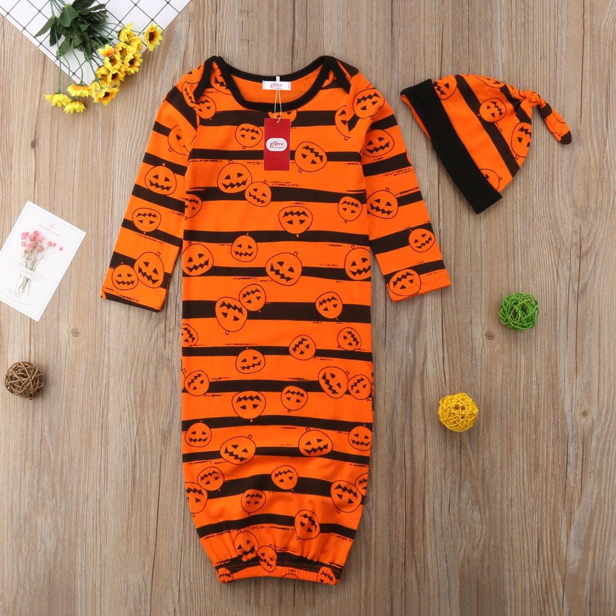 Infant Baby Boy Girl Halloween Long Sleeve Jumpsuit Pumpkin Printed Sleepwear Wrap Blanket Sleeping Bag