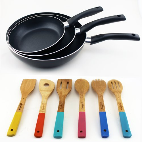 Berghoff International Inc 9-Piece Carbon Steel Frying Pan Set with Utensil Set, Black