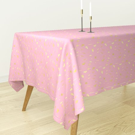 Tablecloth Gold And Pink Modern Nursery Decor Cotton Sateen - Pink And Gold Tablecloth