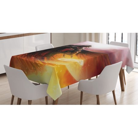 Fantasy World Decor Tablecloth, Superhero in His Original Costume Flying Magic Flame Save World Theme , Rectangular Table Cover for Dining Room Kitchen, 52 X 70 Inches, Yellow Red, by Ambesonne
