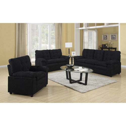 Buchannan Microfiber 3-Piece Living Room Set - Walmart.com