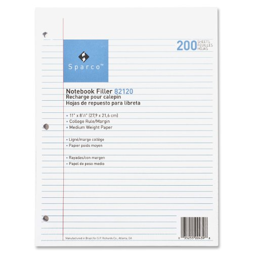 "Sparco Notebook Filler Paper - 200 Sheet - 16 Lb - College Ruled - Letter 8.50"" X 11"" - 200 / Pack - White Paper (SPR82120)"