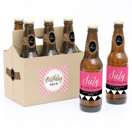 Chic 60th Birthday - 6 Birthday Party Beer Bottle Labels with 1 Beer Carrier](Beer Labels)