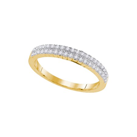 10K Yellow Gold 0.33ctw Shiny Pave Diamond 2 Row Fashion Wedding Band