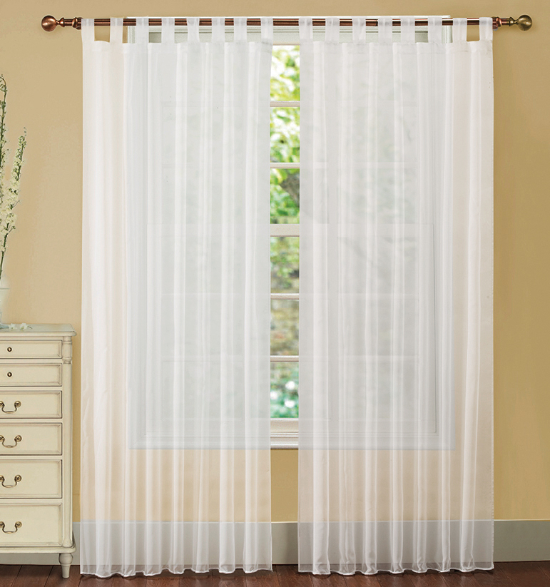 "Lacey White Tab Top Voile Window Curtain Panel 57"" x 84"""