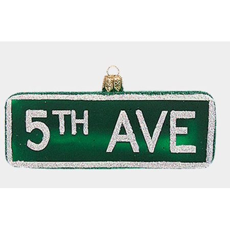 5th Avenue Fifth  York City Street Sign Glass Christmas Ornament Decoration](Pool City Christmas Decorations)
