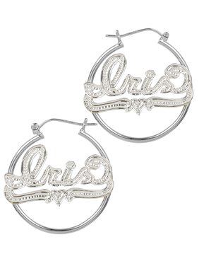 b23835062 Free shipping. Product Image Personalized Sterling Silver Tube Hoop Name  Earrings with Beading and Rhodium All Over The Name,