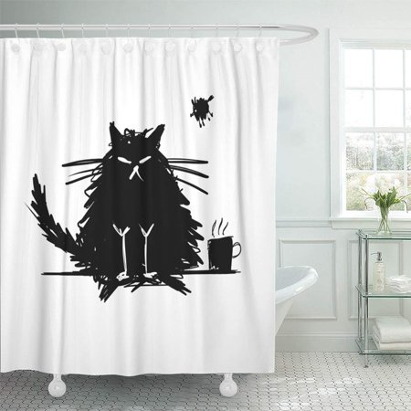 PKNMT Coffee Funny Cat Black Silhouette Sketch for Your Design Bad Halloween Animal Big Waterproof Bathroom Shower Curtains Set 66x72 inch - Silhouette Halloween Designs