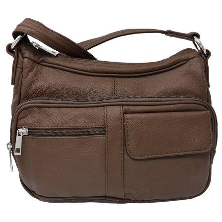 Garrison Grip Crossbody Or Shoulder Carry Leather Locking Concealment Purse Ccw Concealed Gun Bag Brown