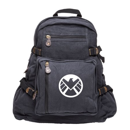 Marvel Agents of Shield Logo Durable Canvas Military Backpack School Book