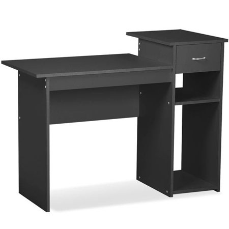 Yaheetech Black Compact Computer Desk With Drawer And Shelf Small