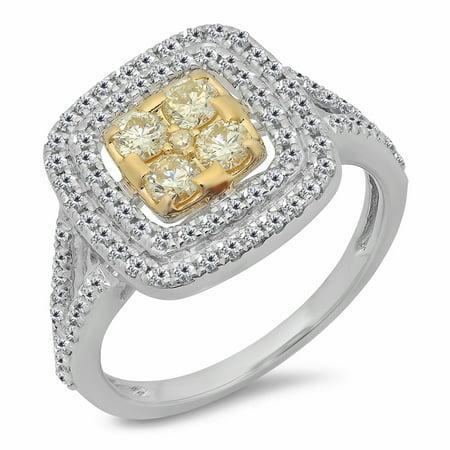 Dazzlingrock Collection 0.95 Carat (ctw) 14K White & Two Tone Yellow & White Diamond Engagement Ring 1 CT, Yellow Gold, Size 7 14k Two Tone Setting