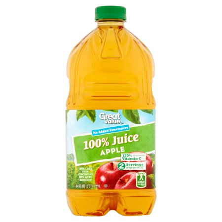 80 Black Value Pack - (3 pack) Great Value No Sugar Added 100% Juice, Apple, 64 Fl Oz, 1 Count
