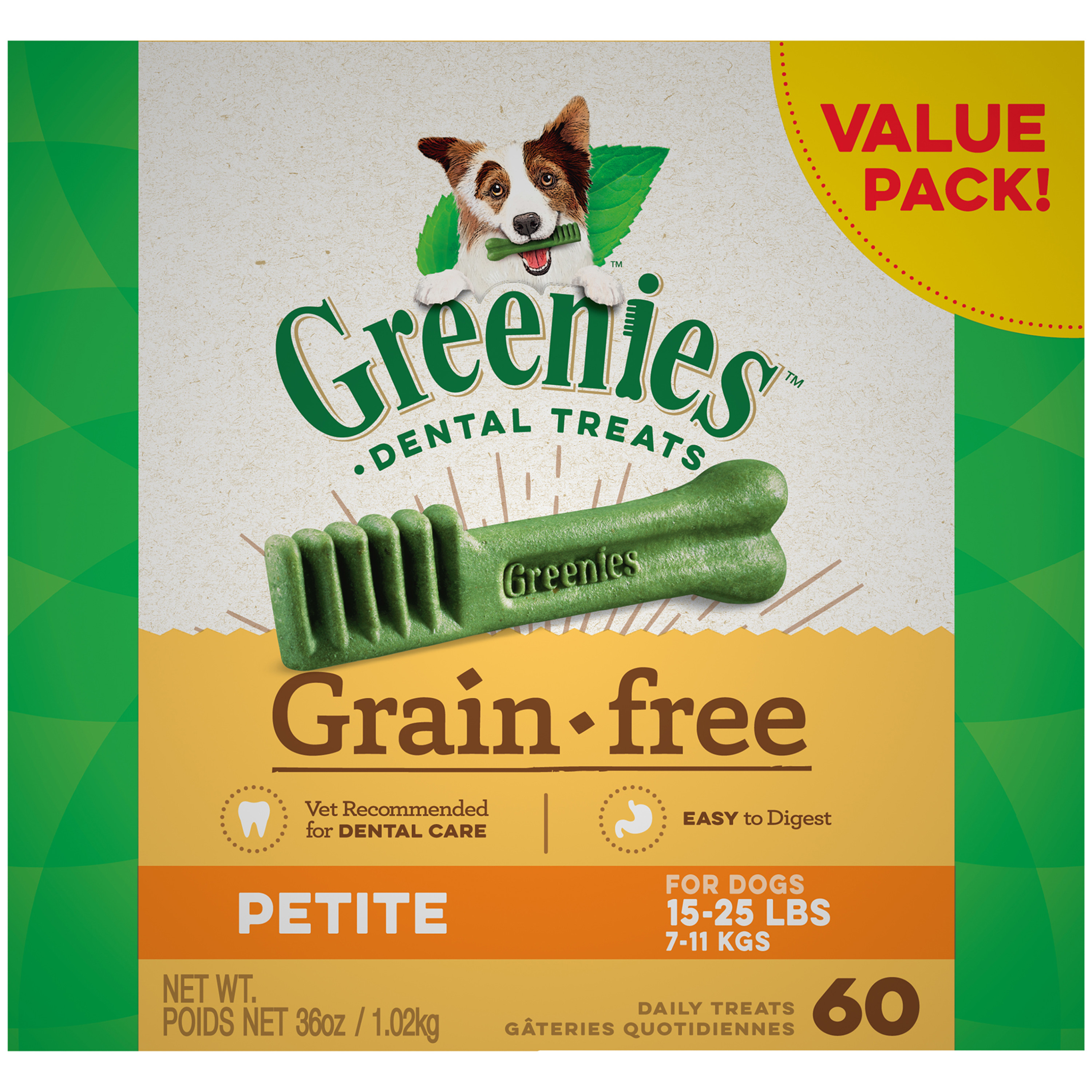 GREENIES Grain Free Petite Dental Dog Treats, 36 oz. Pack (60 Treats)