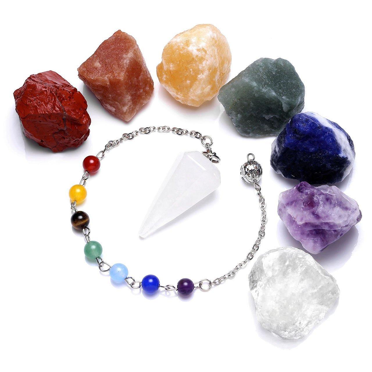 Natural Raw Crude Amethyst Quartz Crystal Dowsing Chakra Pendulum for Divination Real Stone Reiki Pendant Necklace for Women Energy Healing