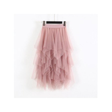 Lavaport Women Irregular Tulle Skirt Mesh Medi Dresses](Plus Size Tulle Skirt)
