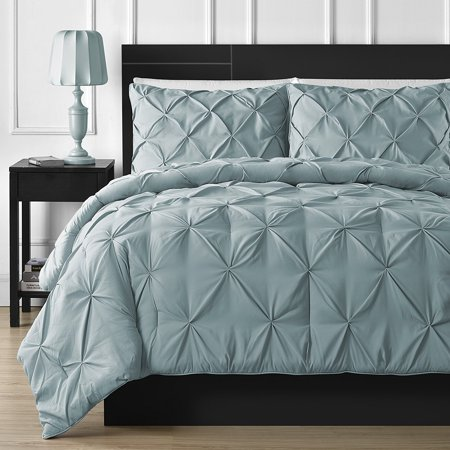 Double Needle Durable Stitching Comfy Bedding 3-piece Pinch Pleat Comforter Set All Season Pintuck Style (Queen, Spa Blue) ()